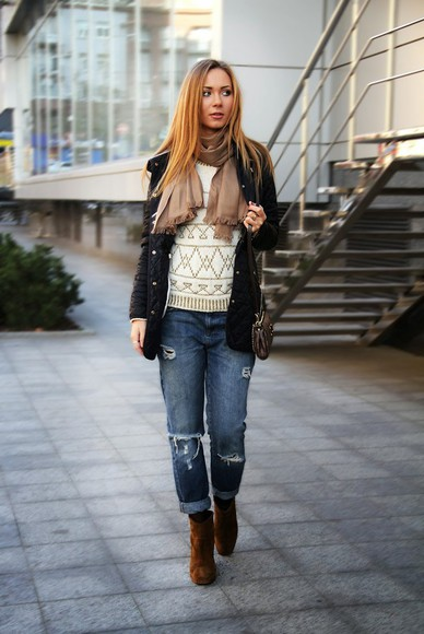 bag blogger jeans ripped jeans jewels dream love shop scarf knitted sweater down jacket