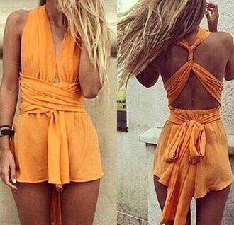 jumpsuit orange summer