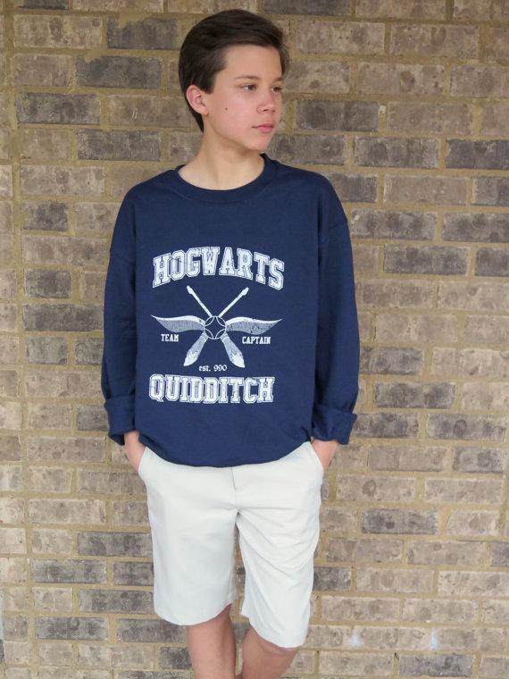 Hogwart's quidditch sweatshirt team captain navy blue unisex