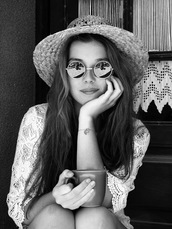 hat,girl,perfect,glasses,beautiful,cup,long hair,ball gown dress,blouse,round sunglasses,jewels,sunglasses,mirrored sunglasses,vintage