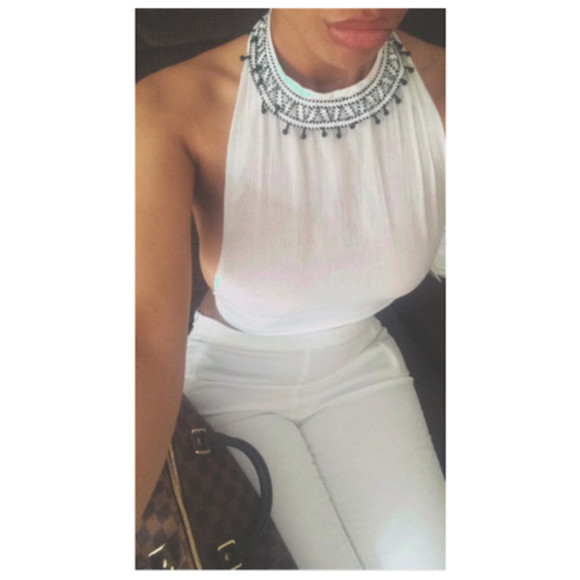 white white pants sheer white crop tops high waisted pants top white high waisted aztec pattern sheer top