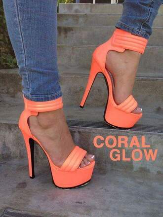 shoes coral coral heels high heels coral glow denim jeans orange french manicure platform shoes platform high heels