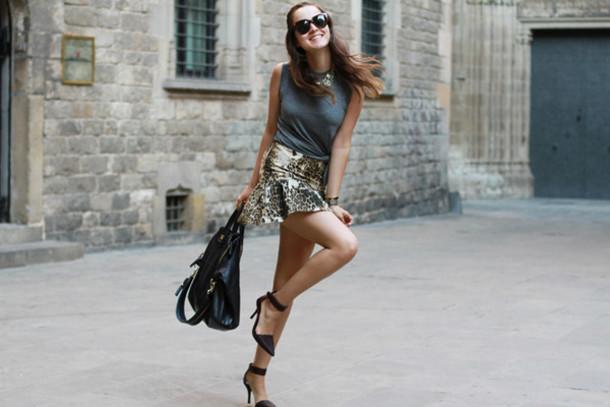 style scrapbook skirt t-shirt shoes bag jewels sunglasses