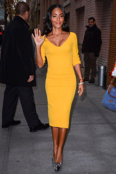 1c6f7f06b2ff dress yellow dress jada pinkett smith celebrity bodycon dress v neck dress  platform pumps pumps spring
