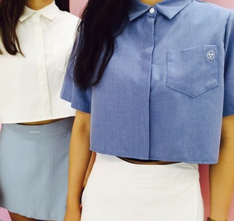 top blue white cute indie grunge fashion white t-shirt button up blouse button up shirt square top