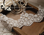 White Daisy Lace Trim Cotton Lace Trim Crochet Daisy by lacetime