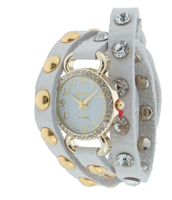 WHITE GOLD STUDS WRAP AROUND WATCH
