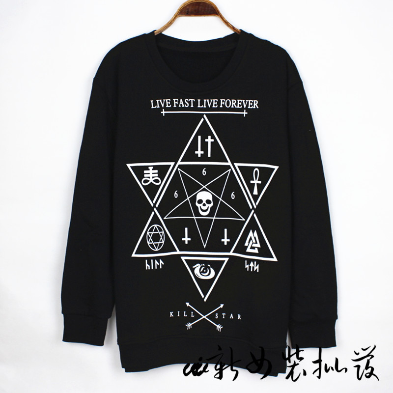 Taobao 13 europe and kill star hexagram hexagram skull geometry religion in long sleeves loose sweater ktzvrppmurrjqp from english agent:buychina.com