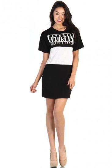 LoveMelrose.com From Harry & Molly   Parental Advisory Mesh Cut Out Dress - Black