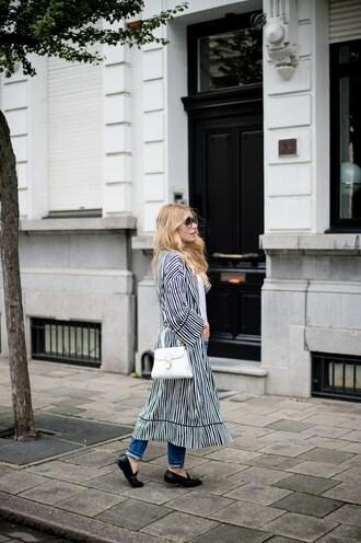 coat kimono tumblr denim jeans blue jeans shoes loafers black loafers bag white bag