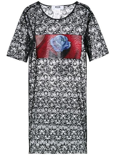 MSGM dress shirt dress t-shirt dress women lace black