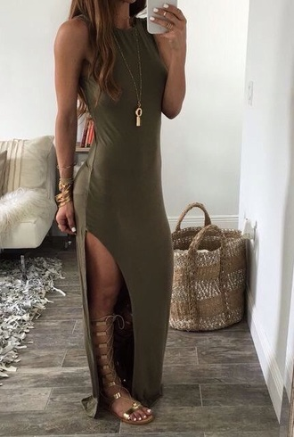 dress army green long dress slit slit dress bodycon sexy dress sexy party dresses party dress summer dress summer outfits spring dress spring outfits date outfit birthday dress shoes sandals flat sandals gold sandals gold flat sandals maxi dress green dress necklace