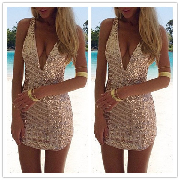 Gold sequin v neck dress
