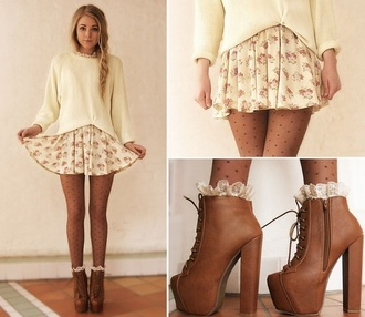 fall outfits braid platform lace up boots off-white knitted sweater polka dots tights floral skater skirt skater skirt floral skirt brown leather boots jeffrey campbell socks back to school cute outfits outfit idea mini skirt brown shoes skirt sweater