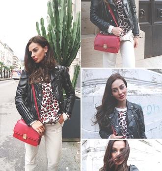 leopard print blogger jacket bag marie zamboli leather jacket