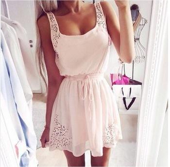 Nextshe 2014 hot summer pink square neck hollow strap drawstring waist chiffon dress for girls ladies s m l xl size