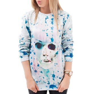 sweater white sweater printed sweater tie dye winter sweater skull skull sweater grunge floral casual fall sweater