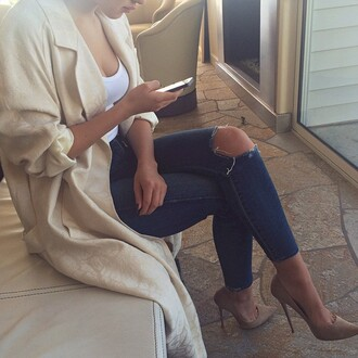 jeans ripped denim beige nude shoes high heels heels court shoes ripped jeans coat