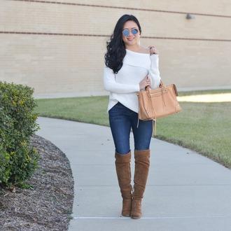 morepiecesofme blogger sunglasses jewels sweater bag jeans shoes boots handbag