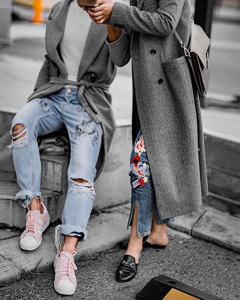 d935c3c109c jeans tumblr embroidered slit pants denim blue jeans coat grey coat long  coat shoes gucci gucci