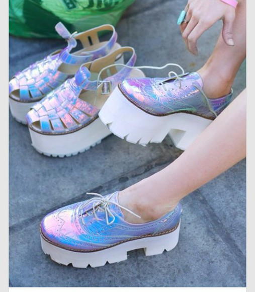 shoes platform shoes creepers girly fashion holographic