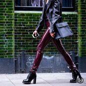 pants,tumblr,burgundy,leather jacket,black leather jacket,bag,black bag,boots,black boots,thick heel,block heels,fall outfits,jacket,thick heel boots,vinyl