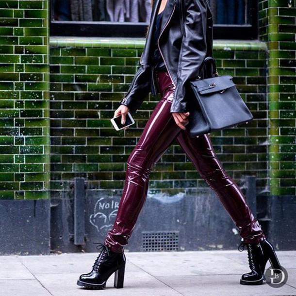 pants tumblr burgundy leather jacket black leather jacket bag black bag boots black boots thick heel block heels fall outfits jacket thick heel boots vinyl