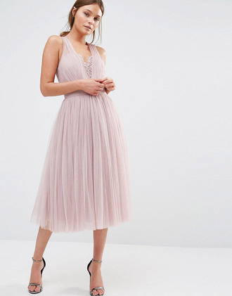 lauren conrad blogger dress pink dress nude dress v neck dress sandals pink