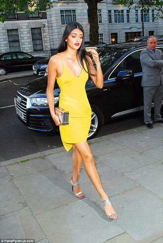 dress yellow slip dress slip dress yellow dress short dress summer dress summer outfits sandals high heel sandals silver sandals silver high heels sandals clutch metallic clutch silver clutch spaghetti strap spaghetti straps dress