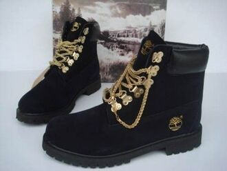 shoes timberlands black gold chain swag dope