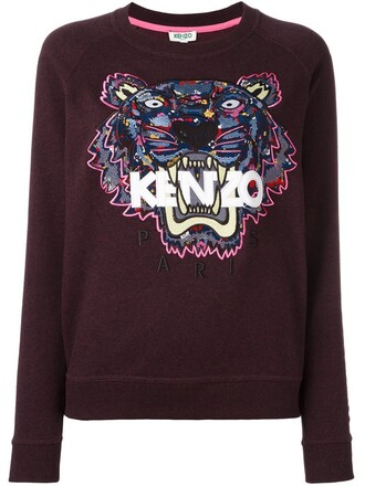 sweatshirt embroidered tiger purple pink sweater