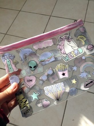 bag grunge pink alien girl home accessory weird girl unicorn tumblr pink bow dress cute little flowy rosy cute dress pencil case kawaii grunge kawaii pastel pastel pink pale hair accessory see through plastic quote on it style handbag tumblr transparent pencil case makeup bag