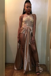 dress,nude,prom dress,formal dress,slit dress,sheer,lace dress,gold