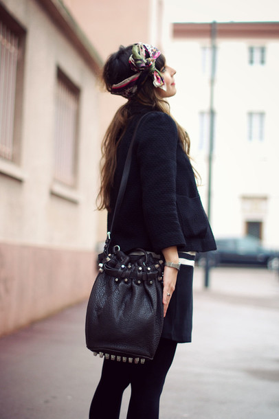 alexander wang studded black bag boho bag