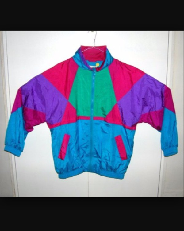 Vintage 90s Windbreaker Set Purple Pink Geometric Color Block ...
