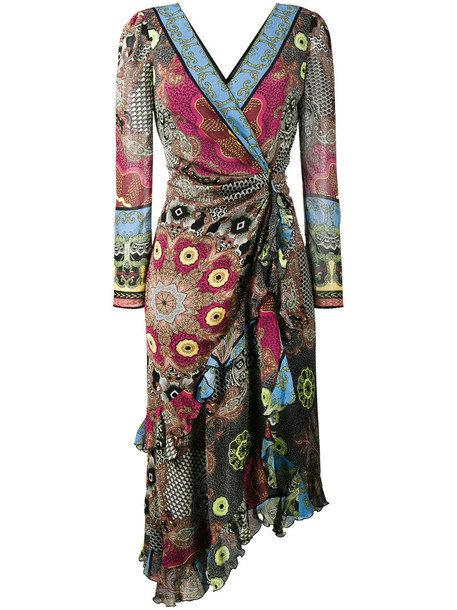 ETRO dress wrap dress women silk brown