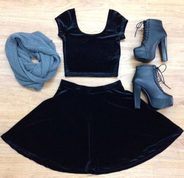 shirt skirt scarf shoes