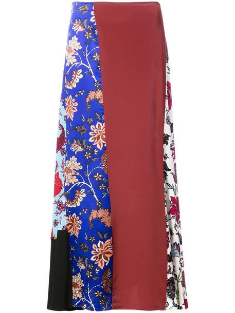 skirt patchwork women floral silk