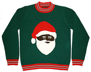 Black Santa Men's Christmas Sweater in Green Funny Ugly Christmas Sweater | eBay