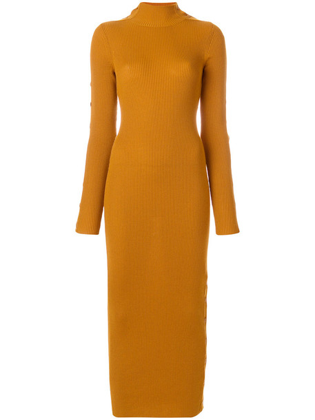 PREEN BY THORNTON BREGAZZI dress women wool knit yellow orange