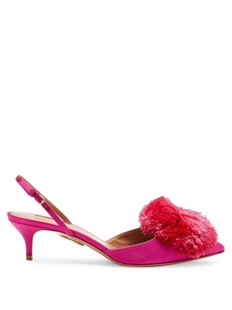 Aquazzura pumps satin pink shoes