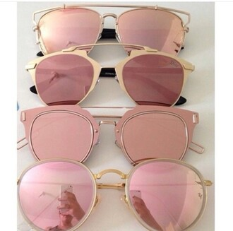 sunglasses rose gold pink