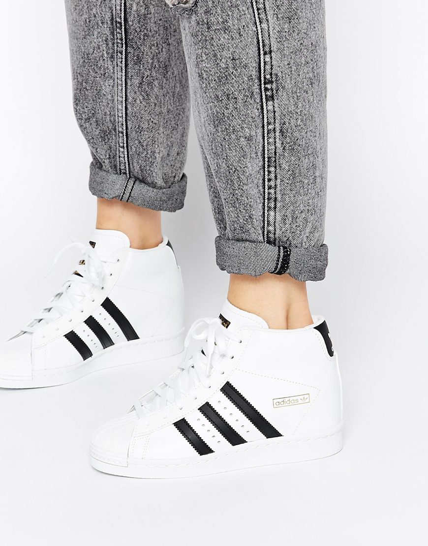 9e4ca3affeeb Adidas Originals Superstar Concealed Wedge White High Top ...