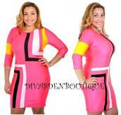 dress,plus size,curvy,striped dress,pink dress,bodycon dress
