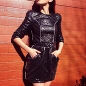 dress,zhivago,black dress,little black dress,sequins,sequin dress,black sequin dress,blue dress,blue sequin dress,marine dress,sexy dress,mini dress,shoulder pads,front pocket dress,special occasion dress