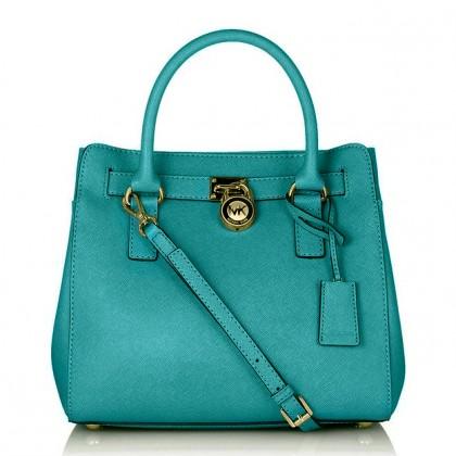 Michael Kors Medium Hamilton Saffiano Leather Tote Bag Blue outlet