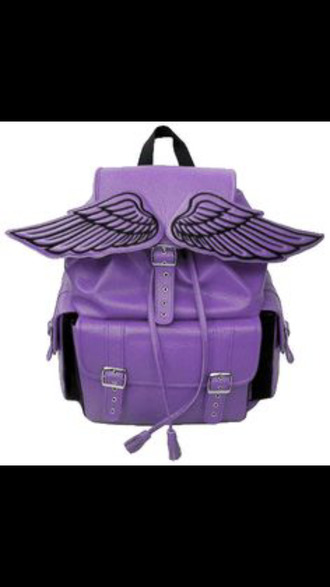 bag bat wings bat wings bag school bag purple bag pastel goth