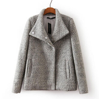 style grey jacket grey coat pockets high collar jacket chilly weather