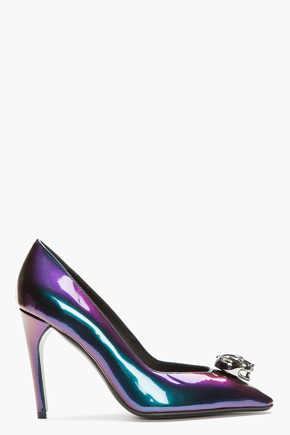 Mugler purple iridescent leather panther pumps