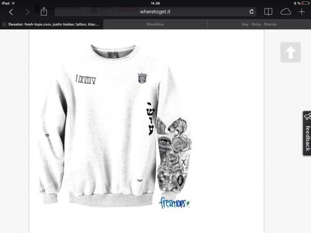 Shirt justin bieber tattoo wheretoget for Justin bieber tattoo sweatshirt